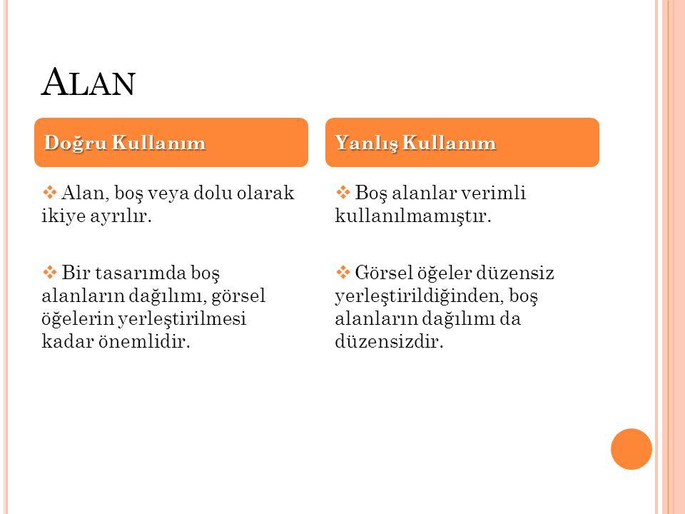 A LAN  Alan, boş veya dolu olarak ikiye ayrılır.  Bir tasarımda boş alanların dağılımı, görsel öğelerin yerleştirilmesi kadar önemlidir.  Boş alanl