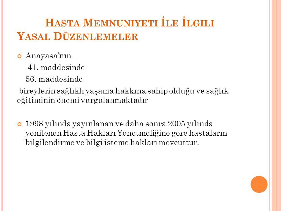 H ASTA M EMNUNIYETI İ LE İ LGILI Y ASAL D ÜZENLEMELER Anayasa'nın 41.