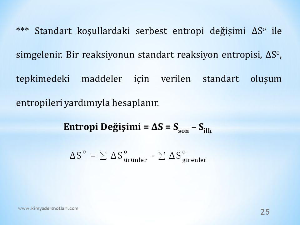 25 *** Standart koşullardaki serbest entropi değişimi ∆S o ile simgelenir. Bir reaksiyonun standart reaksiyon entropisi, ∆S o, tepkimedeki maddeler iç