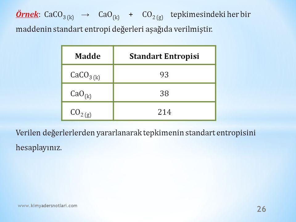 26 Örnek: CaCO 3 (k) → CaO (k) + CO 2 (g) tepkimesindeki her bir maddenin standart entropi değerleri aşağıda verilmiştir. Verilen değerlerlerden yarar