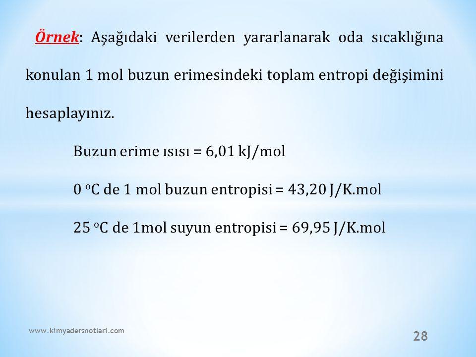 28 Örnek: Aşağıdaki verilerden yararlanarak oda sıcaklığına konulan 1 mol buzun erimesindeki toplam entropi değişimini hesaplayınız. Buzun erime ısısı