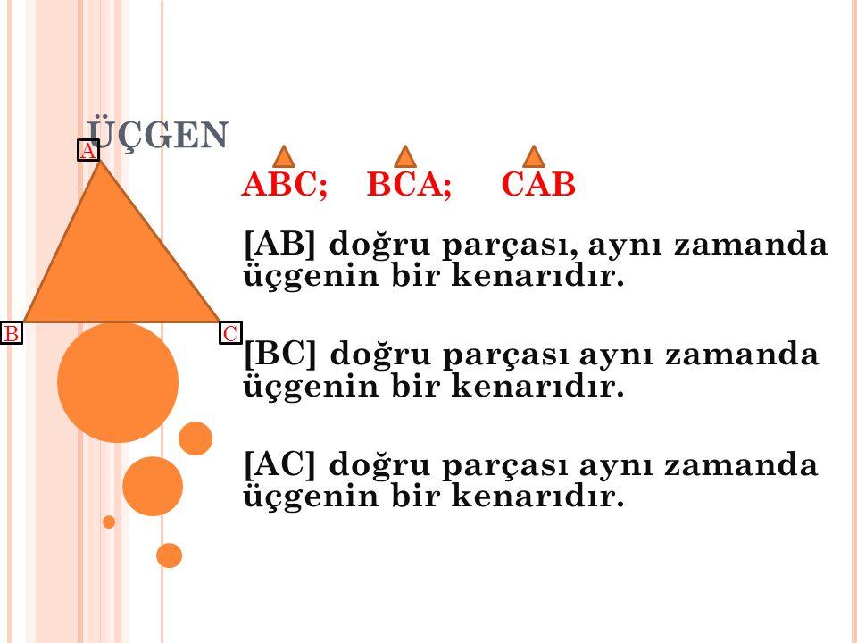 ÜÇGEN ABC; BCA; CAB [AB] doğru parçası, aynı zamanda üçgenin bir kenarıdır. [BC] doğru parçası aynı zamanda üçgenin bir kenarıdır. [AC] doğru parçası