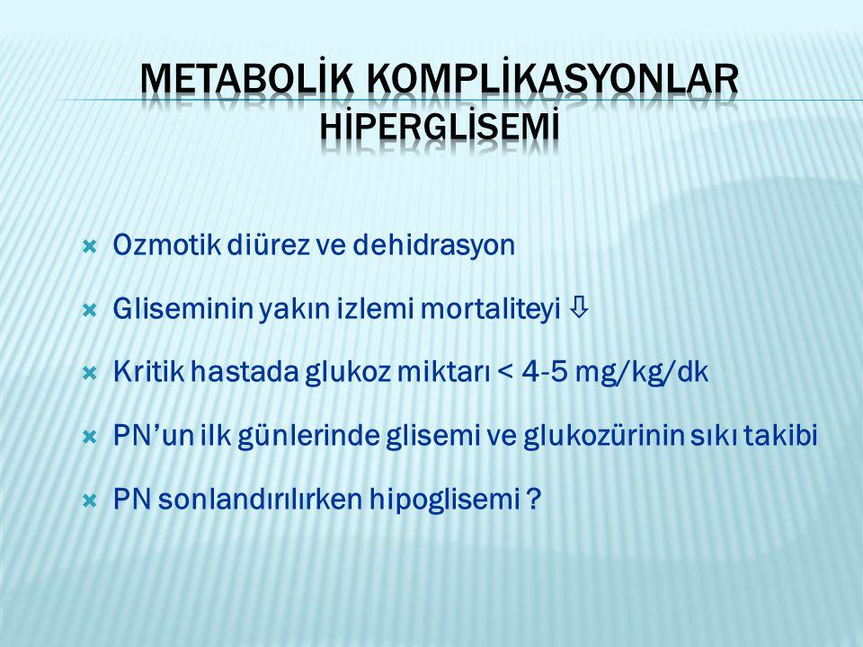  Ozmotik diürez ve dehidrasyon  Gliseminin yakın izlemi mortaliteyi   Kritik hastada glukoz miktarı < 4-5 mg/kg/dk  PN'un ilk günlerinde glisemi