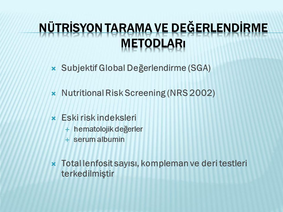  Subjektif Global Değerlendirme (SGA)  Nutritional Risk Screening (NRS 2002)  Eski risk indeksleri  hematolojik değerler  serum albumin  Total l