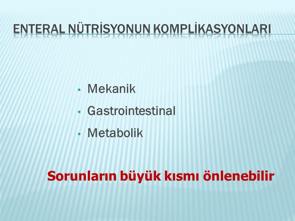 • Mekanik • Gastrointestinal • Metabolik Sorunların büyük kısmı önlenebilir