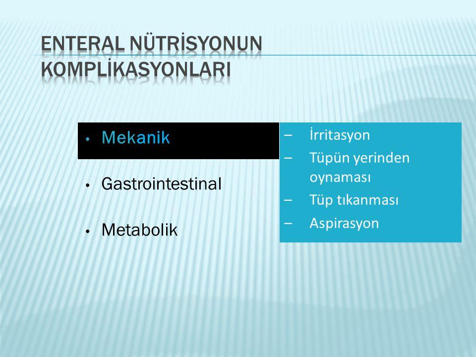 • Mekanik • Gastrointestinal • Metabolik –İrritasyon –Tüpün yerinden oynaması –Tüp tıkanması –Aspirasyon