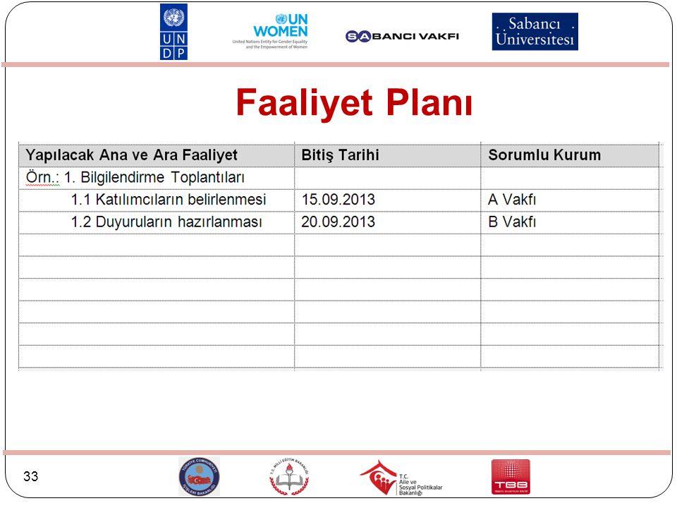 33 Faaliyet Planı