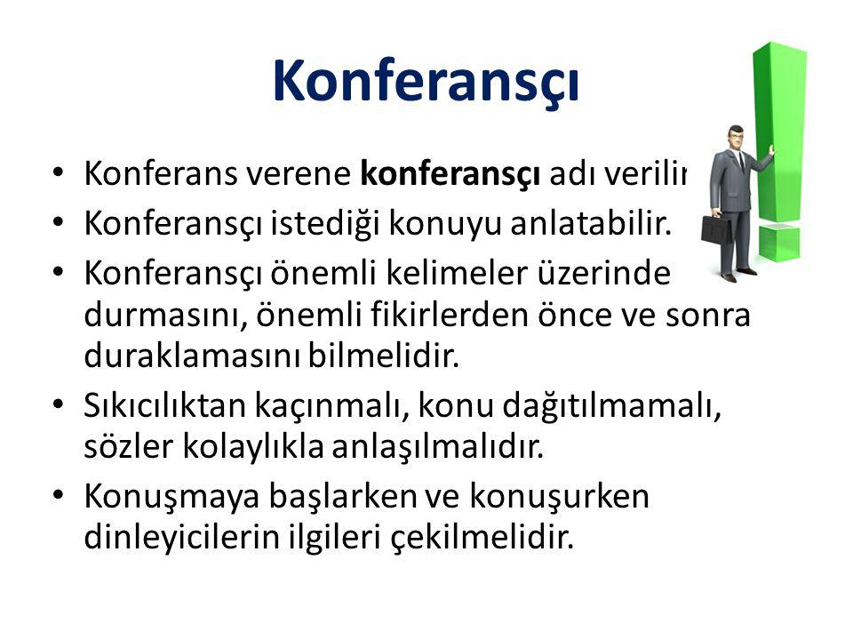 Konferansçı • Konferans verene konferansçı adı verilir. • Konferansçı istediği konuyu anlatabilir. • Konferansçı önemli kelimeler üzerinde durmasını,
