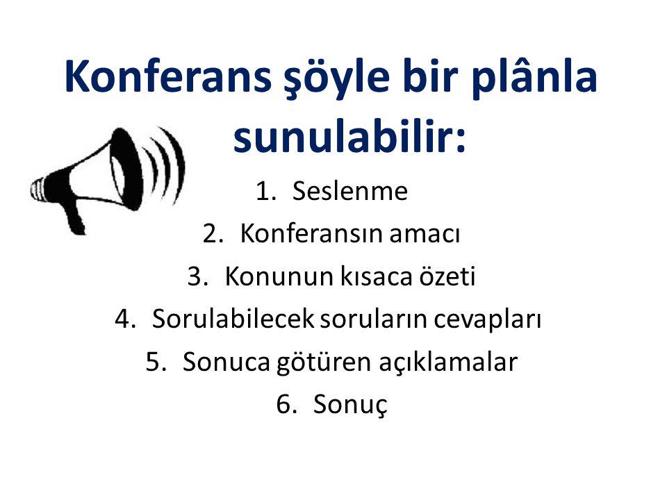 Konferans şöyle bir plânla sunulabilir: 1.Seslenme 2.Konferansın amacı 3.Konunun kısaca özeti 4.Sorulabilecek soruların cevapları 5.Sonuca götüren açı