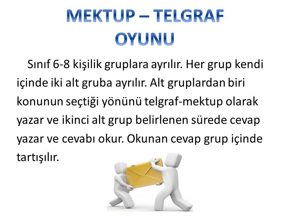 Sınıf 6-8 kişilik gruplara ayrılır. Her grup kendi içinde iki alt gruba ayrılır. Alt gruplardan biri konunun seçtiği yönünü telgraf-mektup olarak yaza