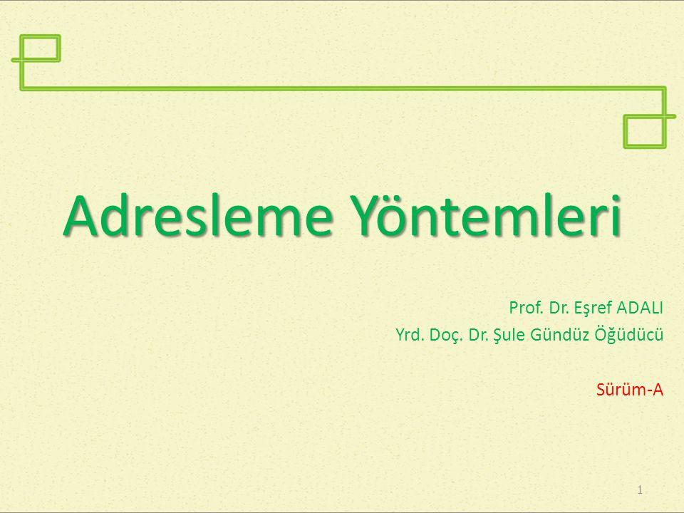 Adresleme Yöntemleri Prof. Dr. Eşref ADALI Yrd. Doç. Dr. Şule Gündüz Öğüdücü Sürüm-A 1
