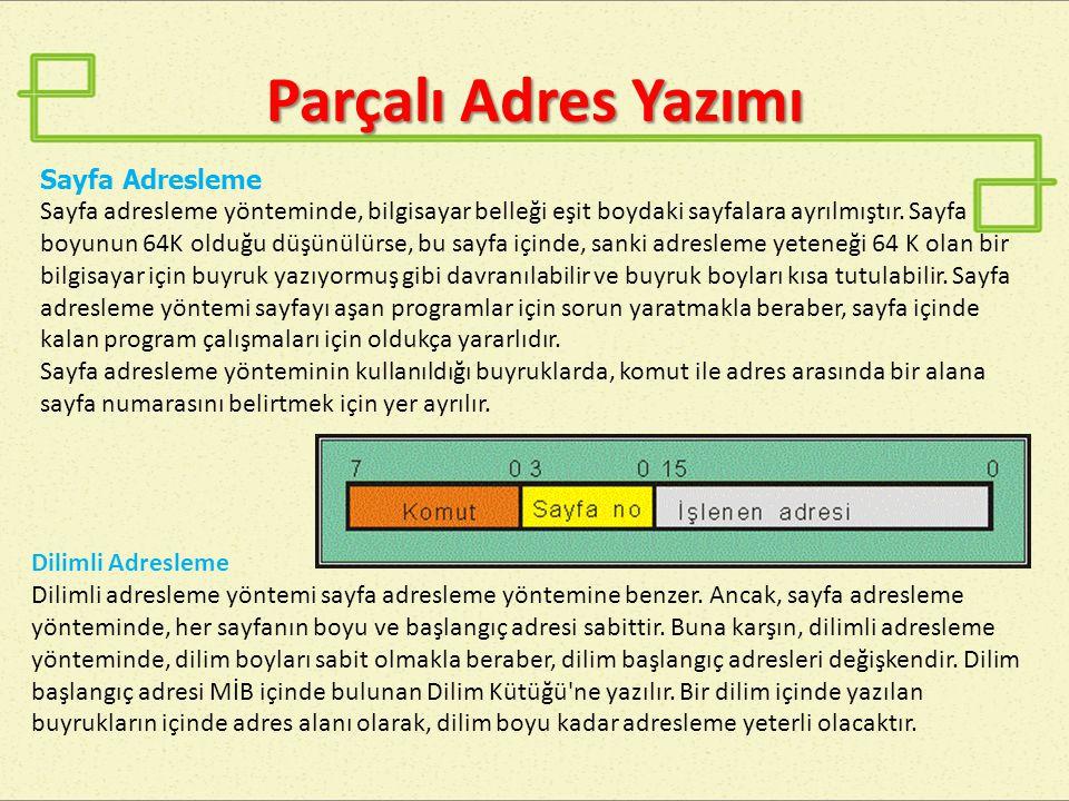 İvedi Adresleme 8  İvedi adresleme yönteminde, işlenen yerine yazılan bilgi bir adres değildir.