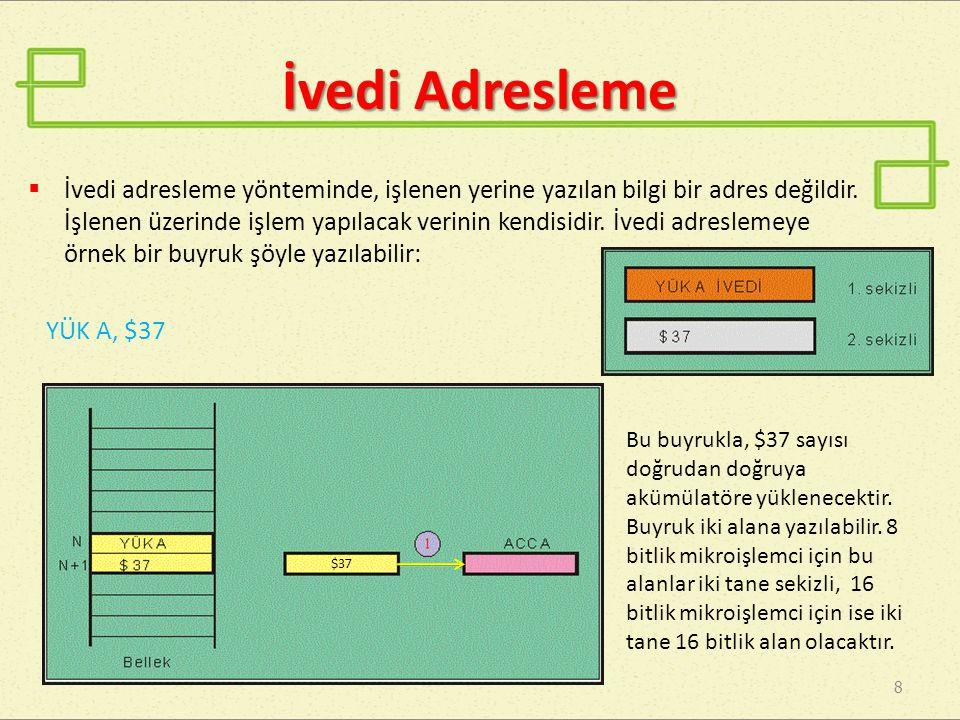 İvedi Adresleme 8  İvedi adresleme yönteminde, işlenen yerine yazılan bilgi bir adres değildir. İşlenen üzerinde işlem yapılacak verinin kendisidir.