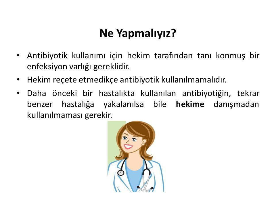 Ne Yapmalıyız? • Antibiyotik kullanımı için hekim tarafından tanı konmuş bir enfeksiyon varlığı gereklidir. • Hekim reçete etmedikçe antibiyotik kulla