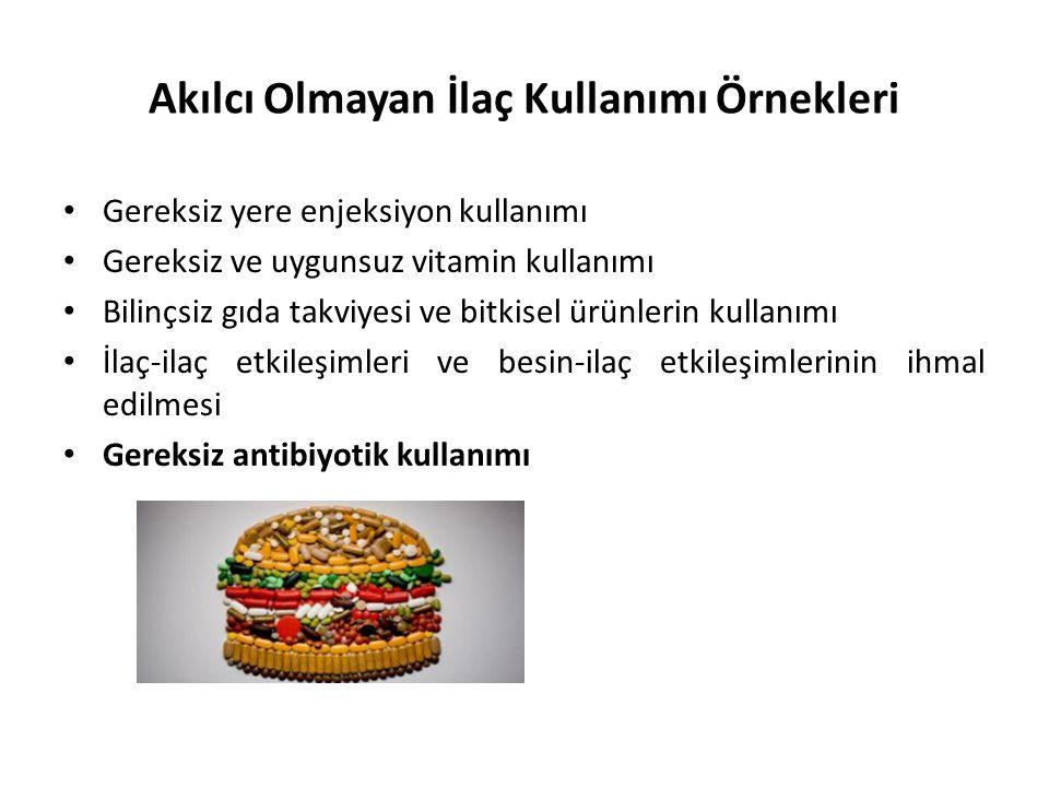 Akılcı Olmayan İlaç Kullanımı Örnekleri • Gereksiz yere enjeksiyon kullanımı • Gereksiz ve uygunsuz vitamin kullanımı • Bilinçsiz gıda takviyesi ve bi