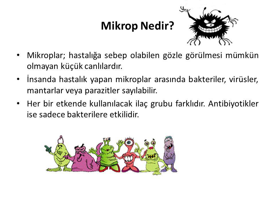 Mikrop Nedir? • Mikroplar; hastalığa sebep olabilen gözle görülmesi mümkün olmayan küçük canlılardır. • İnsanda hastalık yapan mikroplar arasında bakt