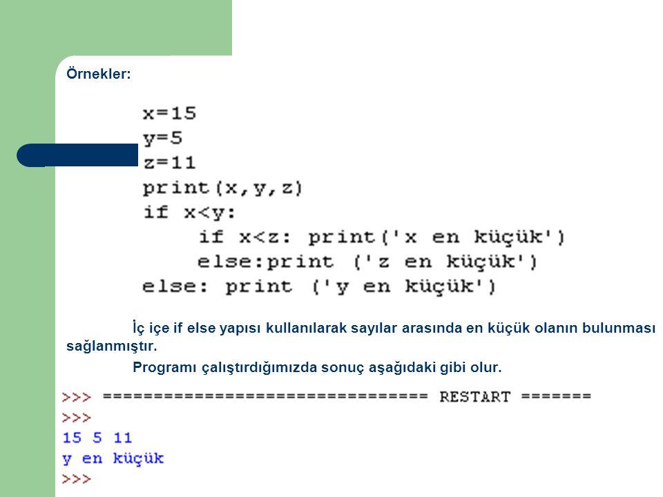 Örnekler: İç içe if else yapısı kullanılarak sayılar arasında en küçük olanın bulunması sağlanmıştır. Programı çalıştırdığımızda sonuç aşağıdaki gibi