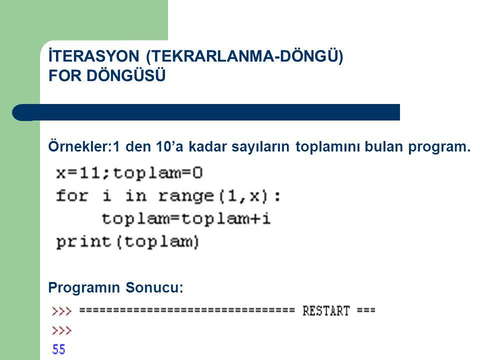 İTERASYON (TEKRARLANMA-DÖNGÜ) FOR DÖNGÜSÜ Örnekler:1 den 10'a kadar sayıların toplamını bulan program. Programın Sonucu: