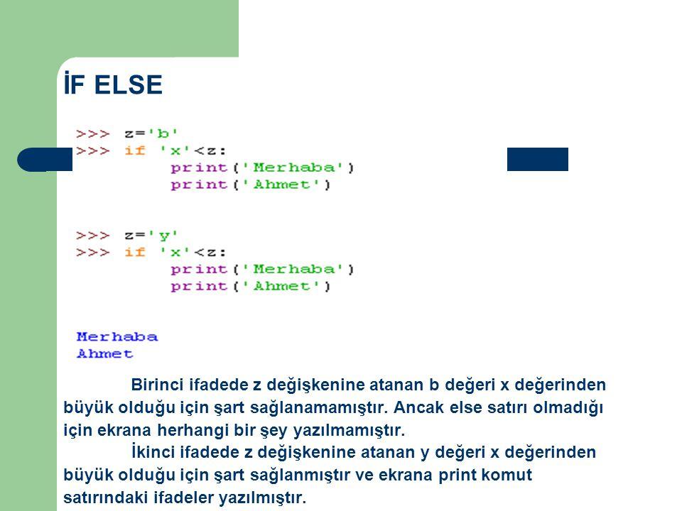 İF ELSE Birinci ifadede z değişkenine atanan b değeri x değerinden büyük olduğu için şart sağlanamamıştır. Ancak else satırı olmadığı için ekrana herh