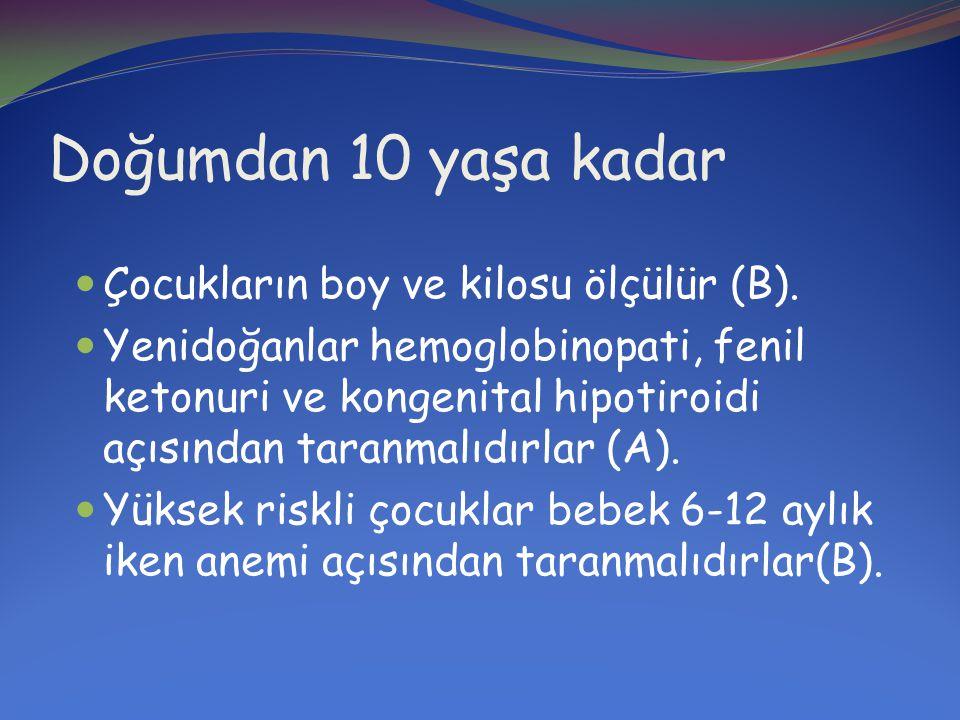 Doğumdan 10 yaşa kadar  Kurşun düzeyleri 12 aylık iken taranmalıdır (B).
