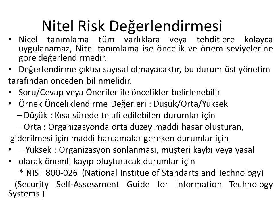 Nitel Risk Değerlendirmesi • Nicel tanımlama tüm varlıklara veya tehditlere kolayca uygulanamaz, Nitel tanımlama ise öncelik ve önem seviyelerine göre değerlendirmedir.