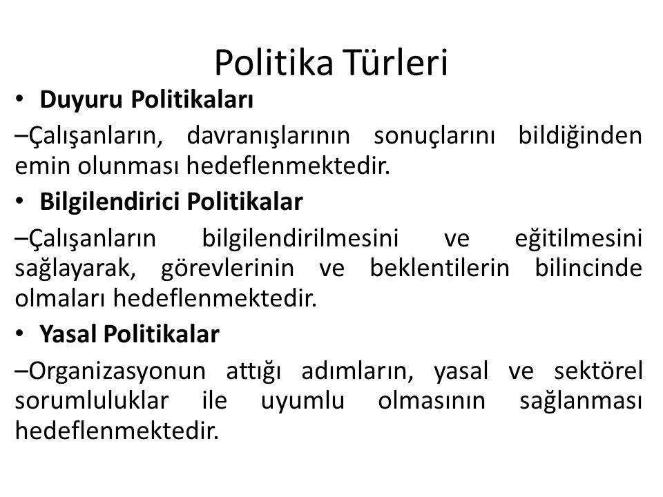 Politika Türleri • Duyuru Politikaları –Çalışanların, davranışlarının sonuçlarını bildiğinden emin olunması hedeflenmektedir. • Bilgilendirici Politik