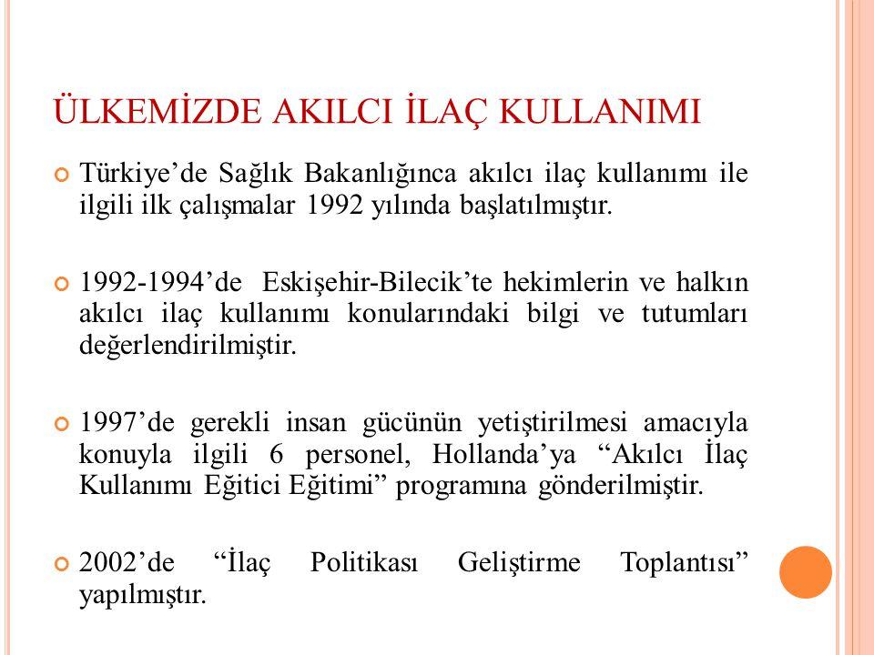 ÜLKEMİZDE AKILCI İLAÇ KULLANIMI Türkiye'de Sağlık Bakanlığınca akılcı ilaç kullanımı ile ilgili ilk çalışmalar 1992 yılında başlatılmıştır. 1992-1994'