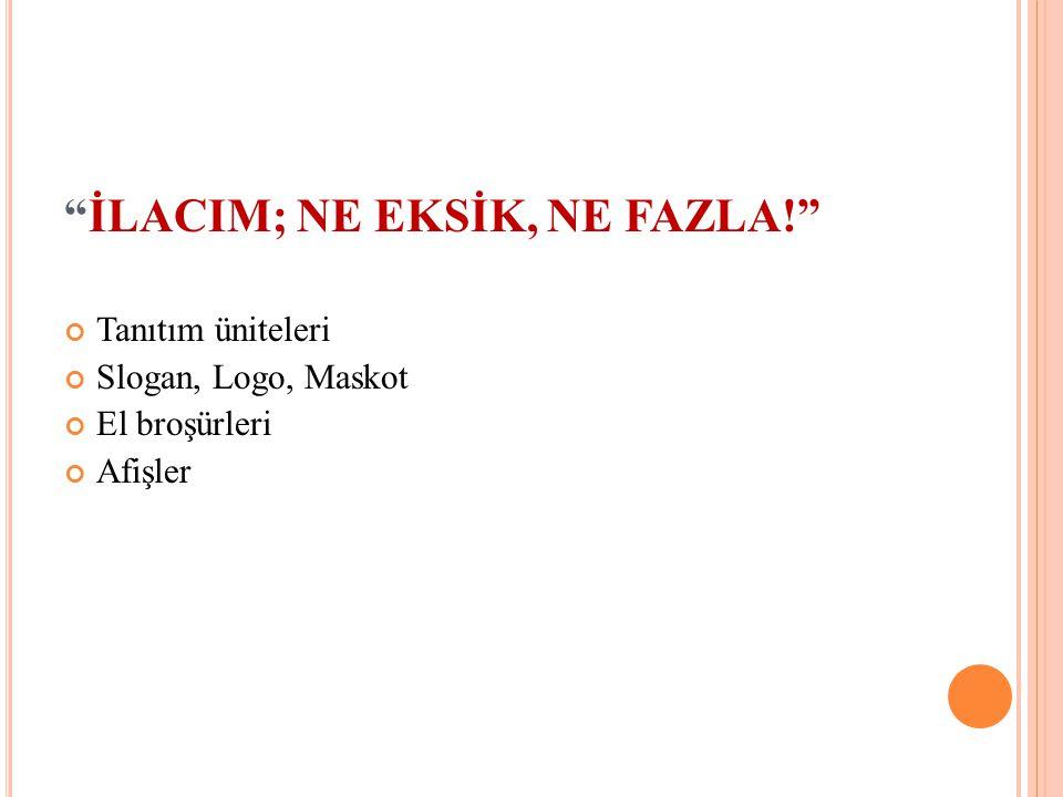 """""""İLACIM; NE EKSİK, NE FAZLA!"""" Tanıtım üniteleri Slogan, Logo, Maskot El broşürleri Afişler"""