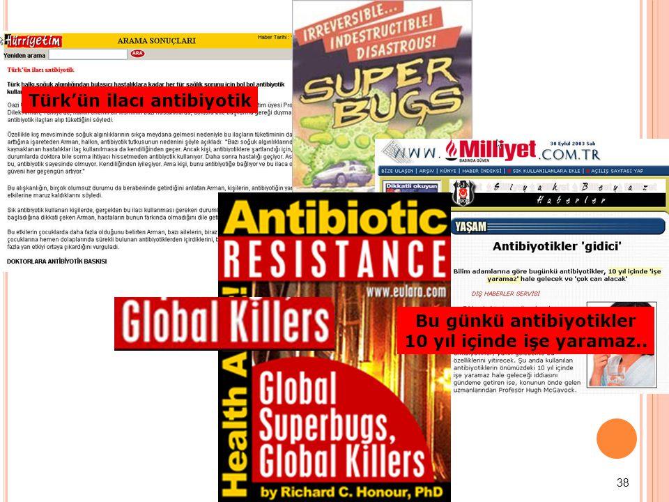 38 Türk'ün ilacı antibiyotik Bu günkü antibiyotikler 10 yıl içinde işe yaramaz..