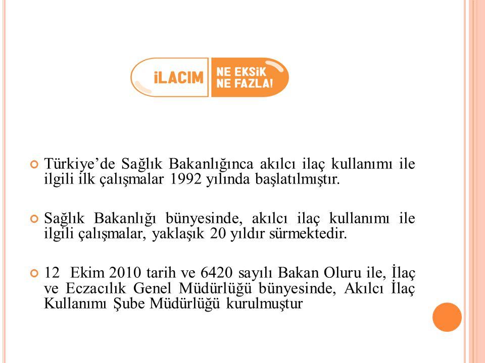 Türkiye'de Sağlık Bakanlığınca akılcı ilaç kullanımı ile ilgili ilk çalışmalar 1992 yılında başlatılmıştır. Sağlık Bakanlığı bünyesinde, akılcı ilaç k