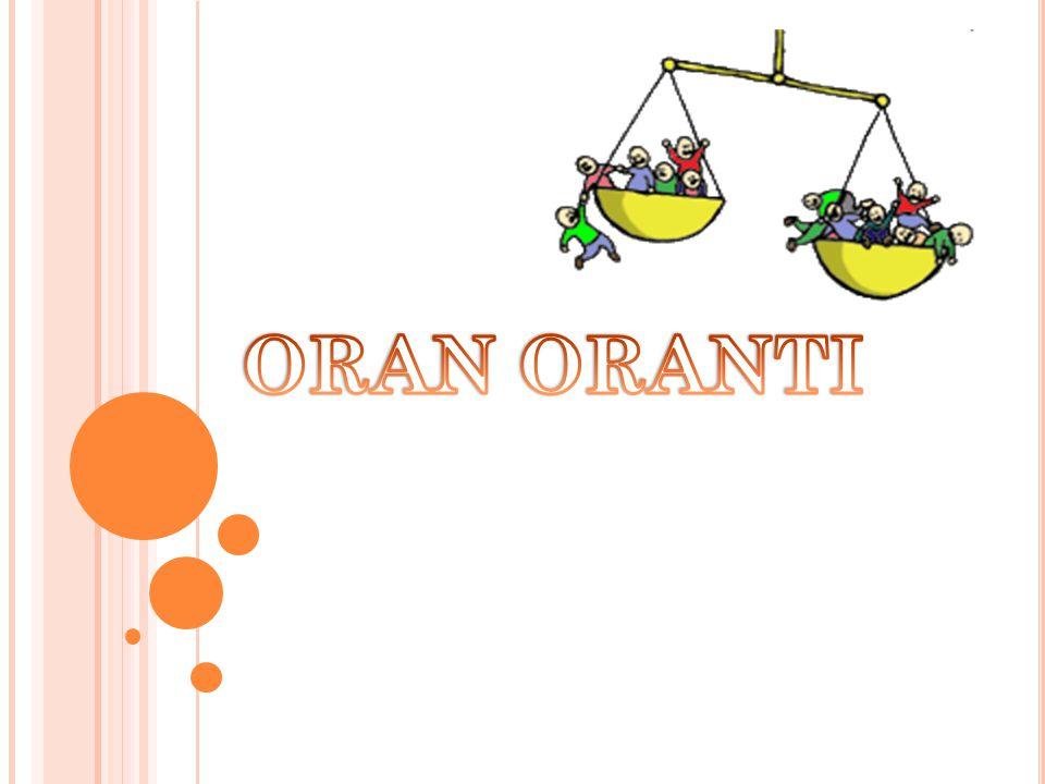 o TERS ORANTI: İki çokluktan biri artarken diğeri aynı oranda azalıyorsa; ya da biri azalırken diğeri aynı oranda artıyorsa bu tür çokluklara ters orantılı çokluklar denir.
