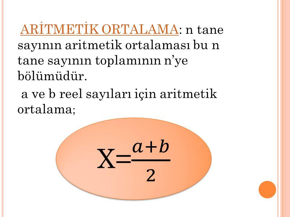 ARİTMETİK ORTALAMA: n tane sayının aritmetik ortalaması bu n tane sayının toplamının n'ye bölümüdür. ARİTMETİK ORTALAMA a ve b reel sayıları için arit