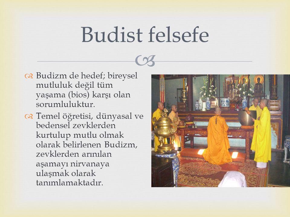  Budizm de hedef; bireysel mutluluk değil tüm yaşama (bios) karşı olan sorumluluktur.  Temel öğretisi, dünyasal ve bedensel zevklerden kurtulup mu