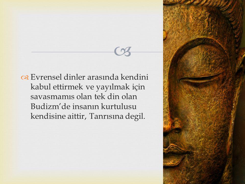   Evrensel dinler arasında kendini kabul ettirmek ve yayılmak için savasmamıs olan tek din olan Budizm'de insanın kurtulusu kendisine aittir, Tanrıs