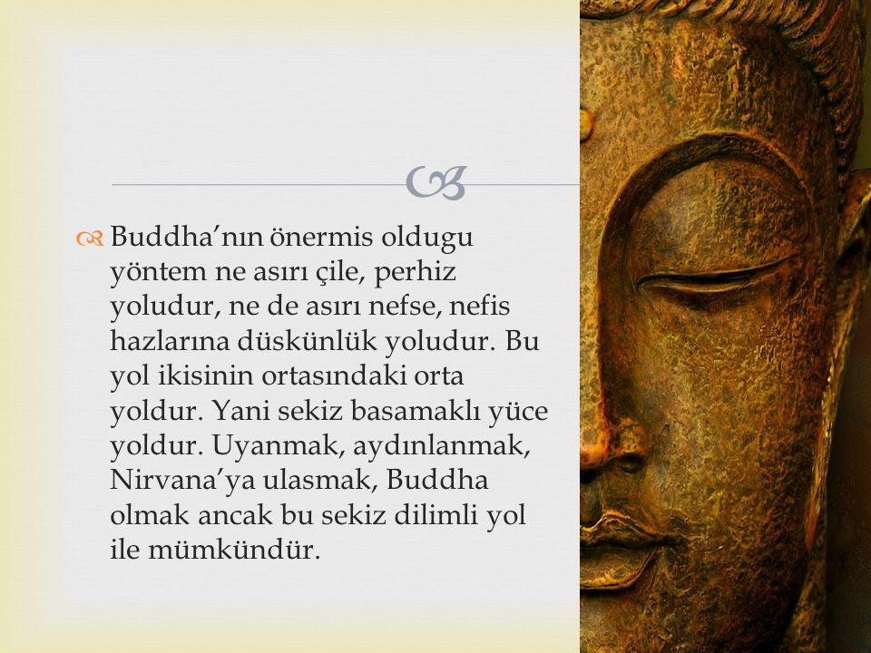   Buddha'nın önermis oldugu yöntem ne asırı çile, perhiz yoludur, ne de asırı nefse, nefis hazlarına düskünlük yoludur. Bu yol ikisinin ortasındaki