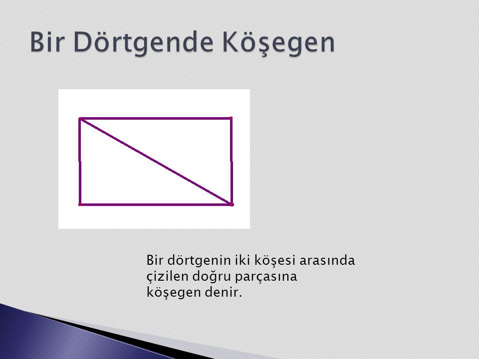 Bir dörtgenin iki köşesi arasında çizilen doğru parçasına köşegen denir.