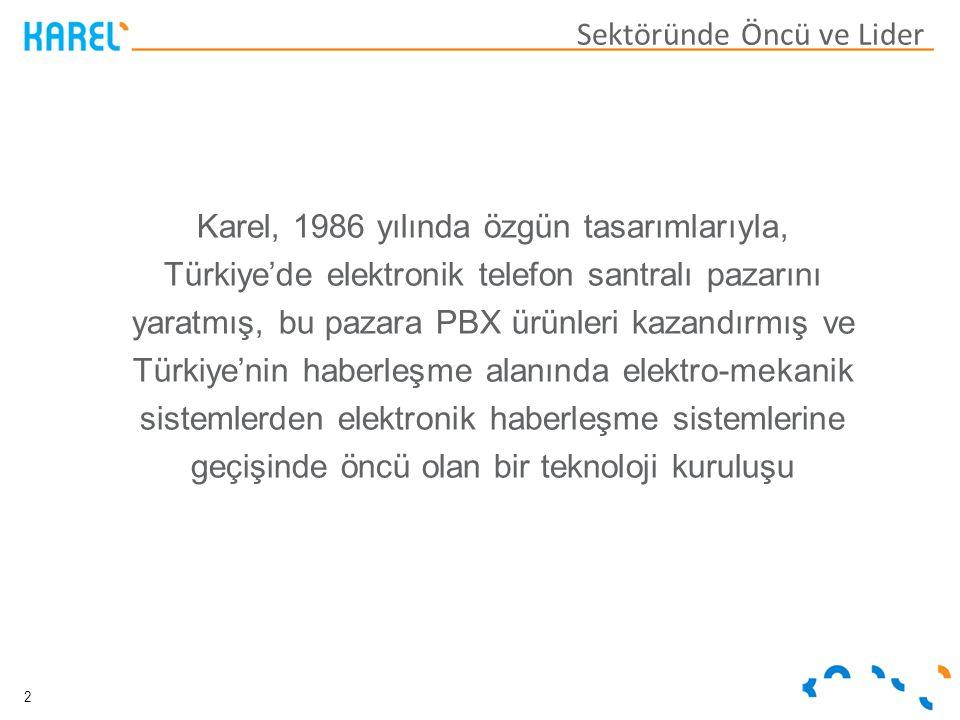 Karel, 1986 yılında özgün tasarımlarıyla, Türkiye'de elektronik telefon santralı pazarını yaratmış, bu pazara PBX ürünleri kazandırmış ve Türkiye'nin