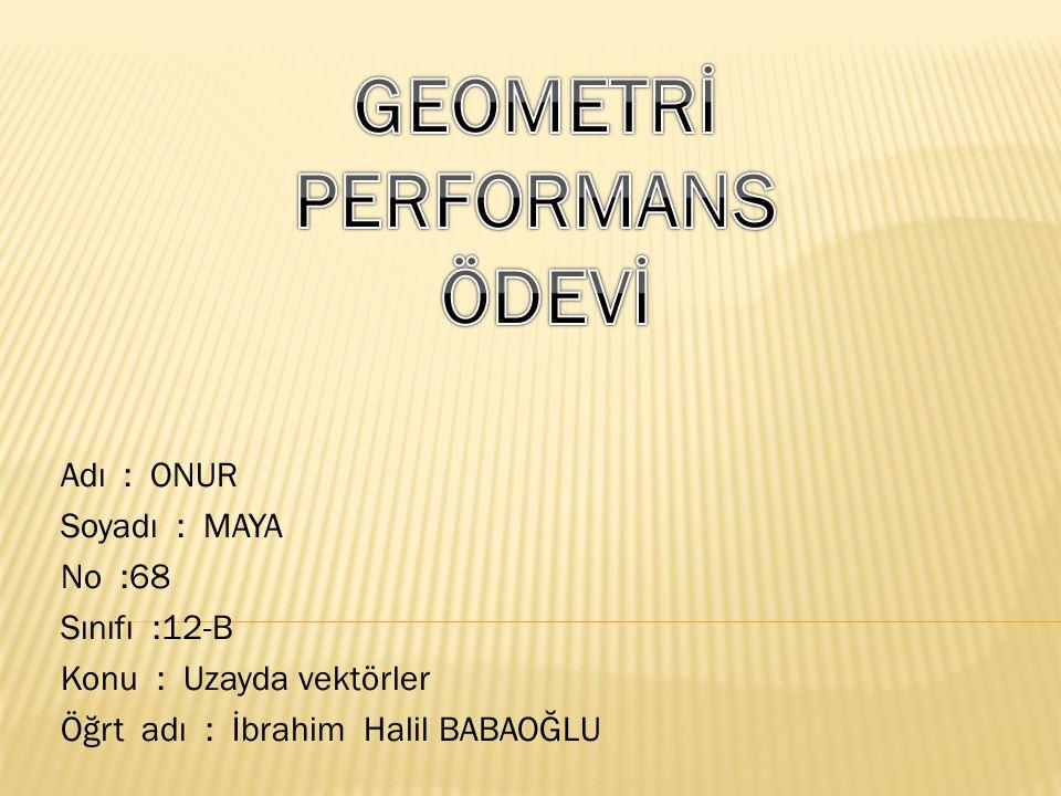 Adı : ONUR Soyadı : MAYA No :68 Sınıfı :12-B Konu : Uzayda vektörler Öğrt adı : İbrahim Halil BABAOĞLU