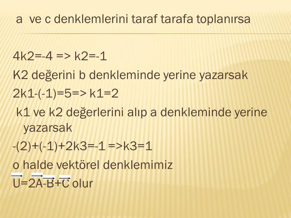 a ve c denklemlerini taraf tarafa toplanırsa 4k2=-4 => k2=-1 K2 değerini b denkleminde yerine yazarsak 2k1-(-1)=5=> k1=2 k1 ve k2 değerlerini alıp a d