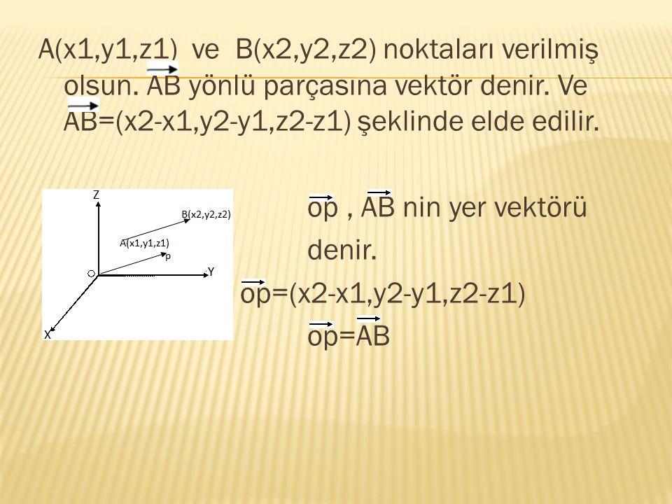 A(x1,y1,z1) ve B(x2,y2,z2) noktaları verilmiş olsun. AB yönlü parçasına vektör denir. Ve AB=(x2-x1,y2-y1,z2-z1) şeklinde elde edilir. op, AB nin yer v