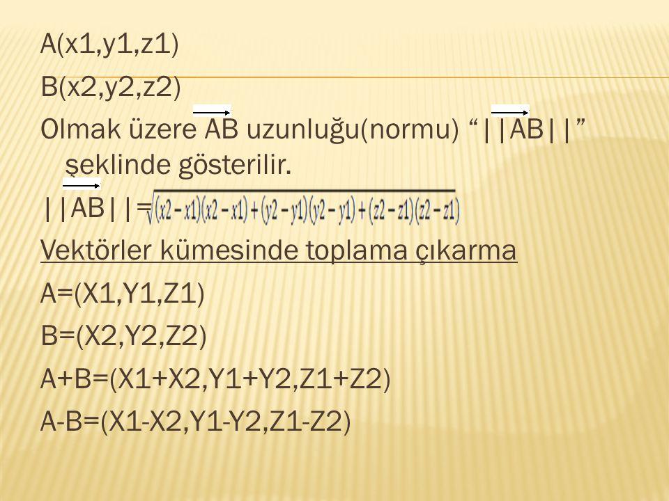 "A(x1,y1,z1) B(x2,y2,z2) Olmak üzere AB uzunluğu(normu) ""||AB||"" şeklinde gösterilir. ||AB||= Vektörler kümesinde toplama çıkarma A=(X1,Y1,Z1) B=(X2,Y2"