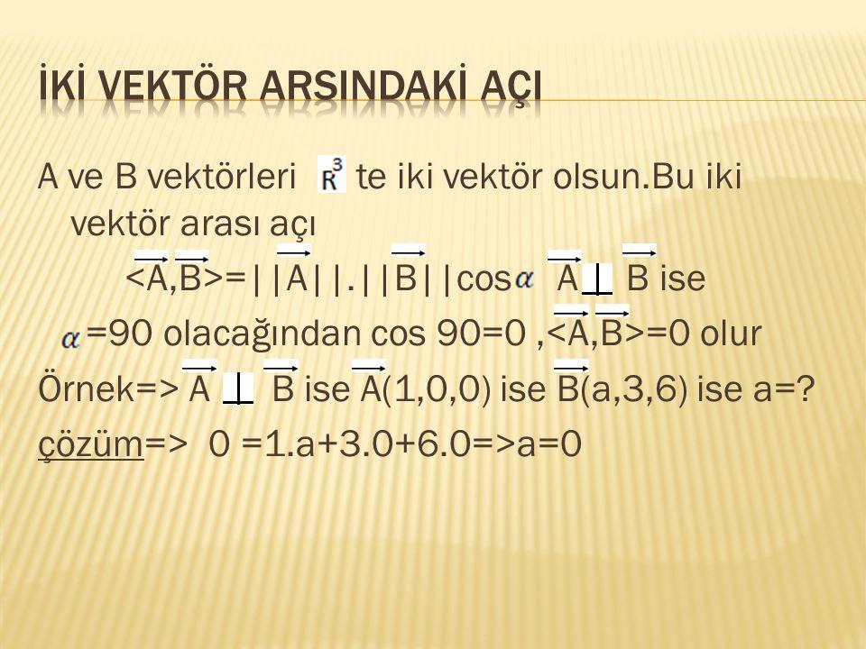 A ve B vektörleri te iki vektör olsun.Bu iki vektör arası açı =||A||.||B||cos A B ise =90 olacağından cos 90=0, =0 olur Örnek=> A = B ise A(1,0,0) ise