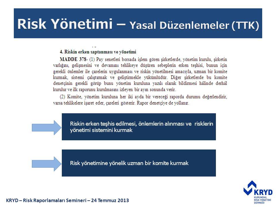 Risk yönetimine yönelik uzman bir komite kurmak Riskin erken teşhis edilmesi, önlemlerin alınması ve risklerin yönetimi sistemini kurmak KRYD – Risk R