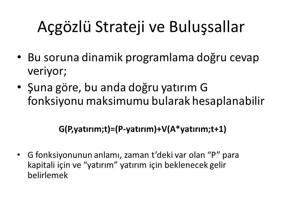 Açgözlü Strateji ve Buluşsallar • Bu soruna dinamik programlama doğru cevap veriyor; • Şuna göre, bu anda doğru yatırım G fonksiyonu maksimumu bularak