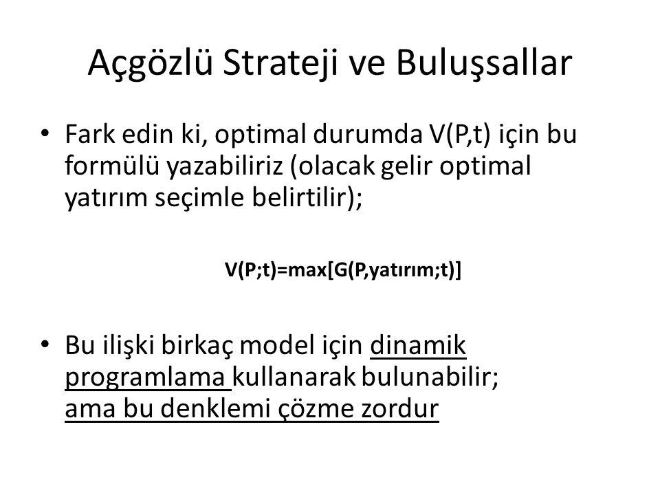 Açgözlü Strateji ve Buluşsallar • Fark edin ki, optimal durumda V(P,t) için bu formülü yazabiliriz (olacak gelir optimal yatırım seçimle belirtilir);