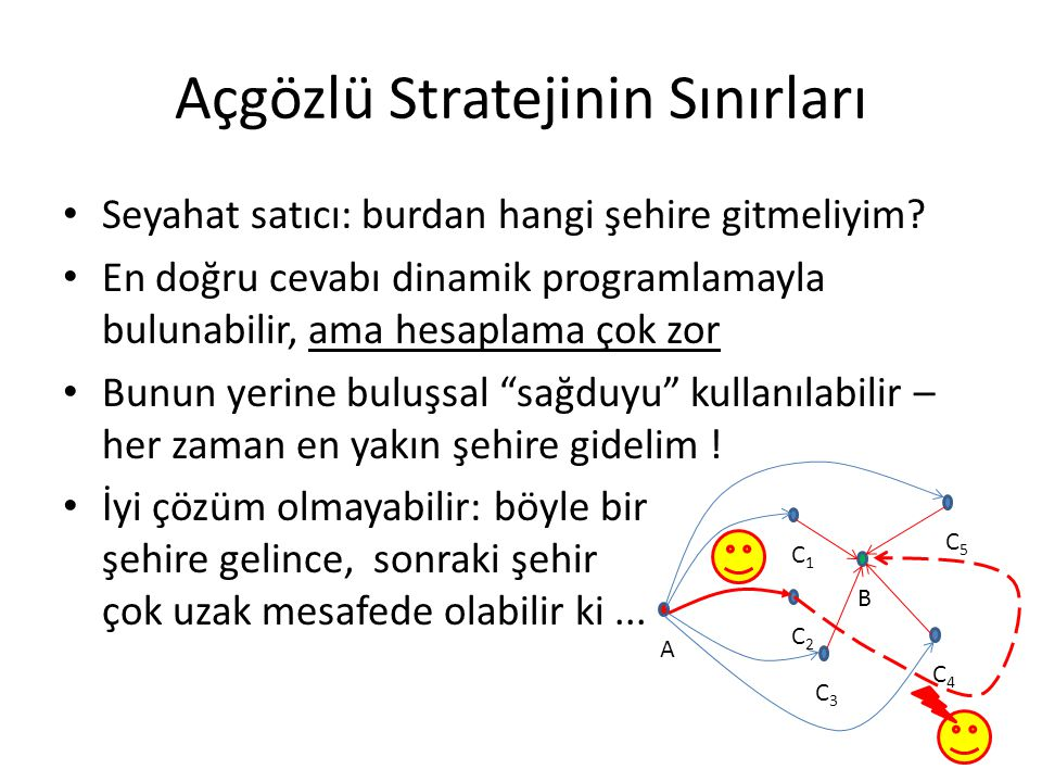 Açgözlü Stratejinin Sınırları • Seyahat satıcı: burdan hangi şehire gitmeliyim? • En doğru cevabı dinamik programlamayla bulunabilir, ama hesaplama ço