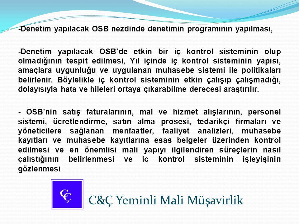 -Denetim yapılacak OSB nezdinde denetimin programının yapılması, -Denetim yapılacak OSB'de etkin bir iç kontrol sisteminin olup olmadığının tespit edi