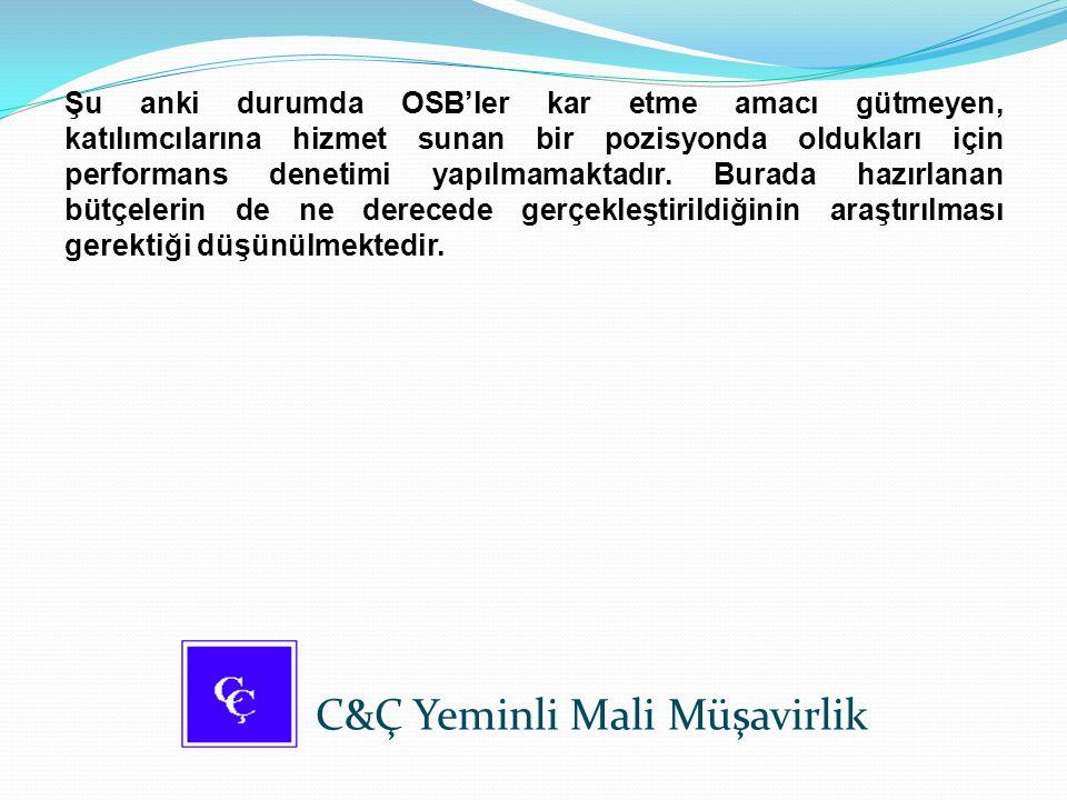 Şu anki durumda OSB'ler kar etme amacı gütmeyen, katılımcılarına hizmet sunan bir pozisyonda oldukları için performans denetimi yapılmamaktadır. Burad