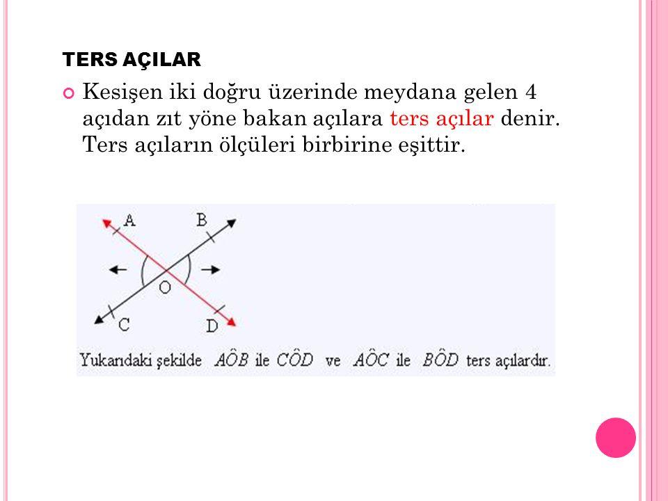 TERS AÇILAR Kesişen iki doğru üzerinde meydana gelen 4 açıdan zıt yöne bakan açılara ters açılar denir. Ters açıların ölçüleri birbirine eşittir.