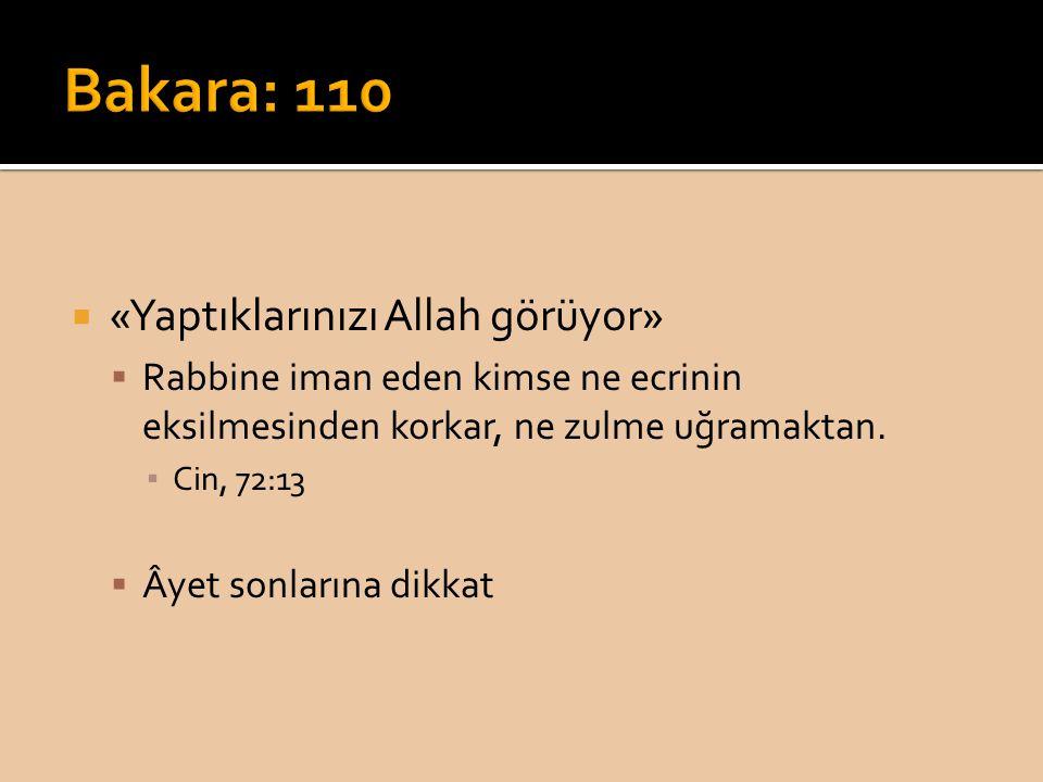  «Yaptıklarınızı Allah görüyor»  Rabbine iman eden kimse ne ecrinin eksilmesinden korkar, ne zulme uğramaktan.